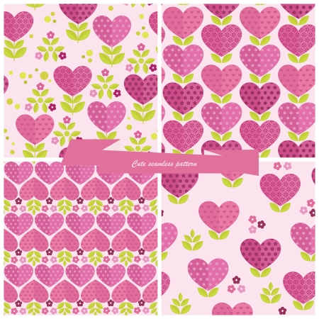 Cute seamless patterns for valentines day  Vector
