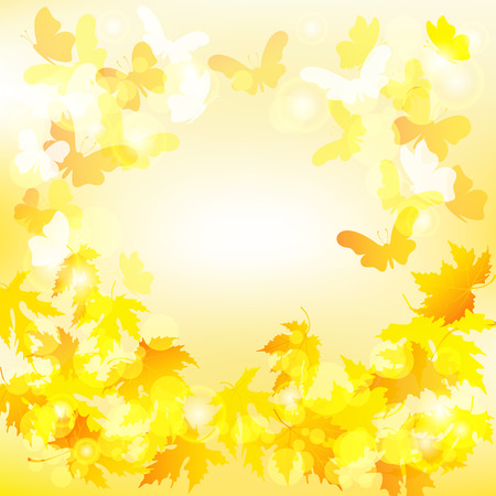 yellow butterfly: Autumn background with maple leaves and butterfly