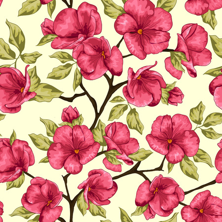 Sacura tree with flowers  Seamless pattern  Vector