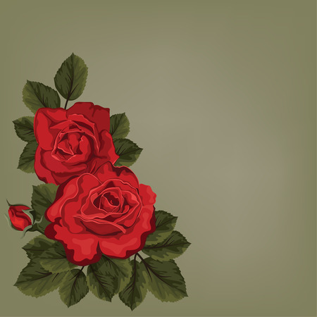 red rose bouquet: Vintage greeting card with roses