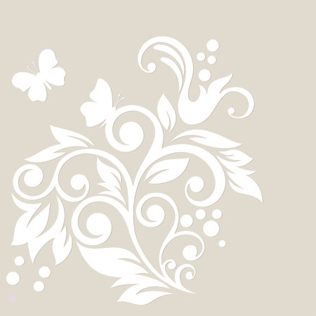 Floral card with swirl and butterfly Vector