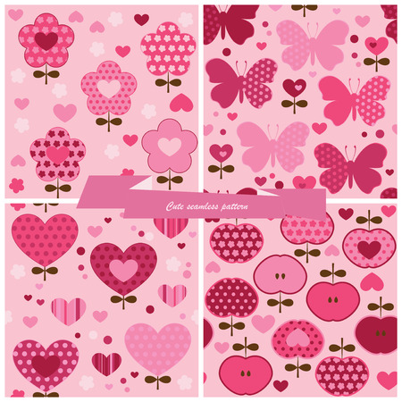 Set seamless pattern flower, hearts, apples and butterfly  Vector