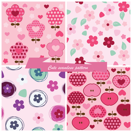 Set seamless pattern flowers and apples Vector