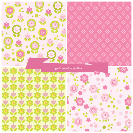 Set seamless pattern flowers and hearts  Vector