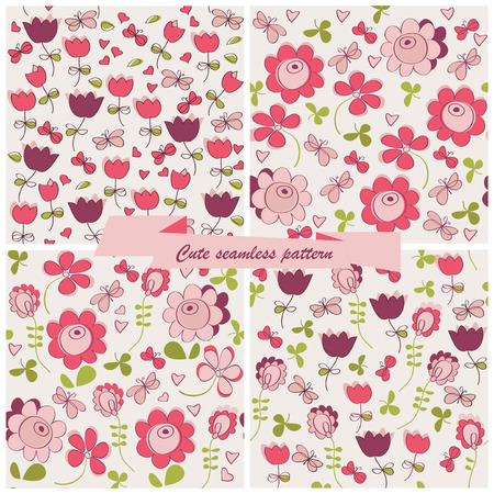 Set seamless pattern flowers and birds Vector