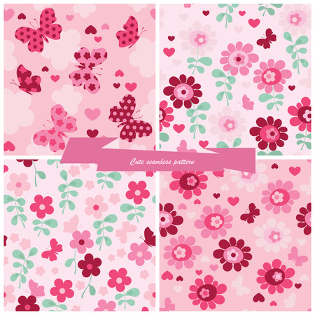 Set seamless pattern flowers, butterfly and hearts  Vector