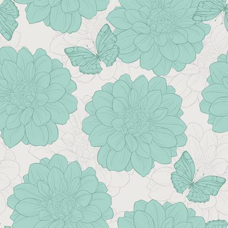 나비, 꽃과 원활한 패턴입니다. 귀여운 꽃 원활한입니다.