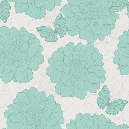Seamless pattern with butterfly, flowers. Cute floral seamless. Illustration