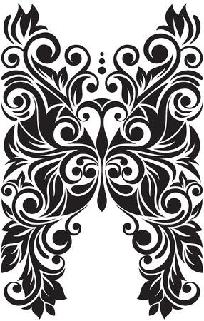 흑백 검은 색과 흰색 레이스 나비입니다. 화려한 민족.
