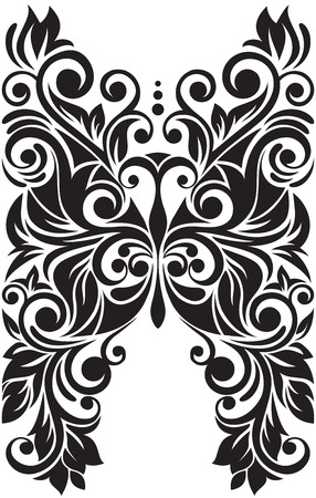 Monochrome black and white lace butterfly. Ethnic ornate.