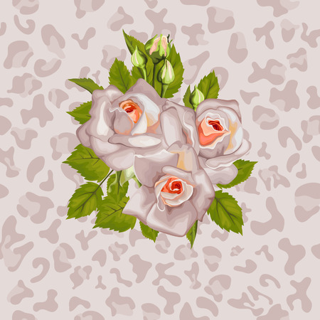 woman fur: Bouquet of roses with leaves, background with animal pattern. Illustration
