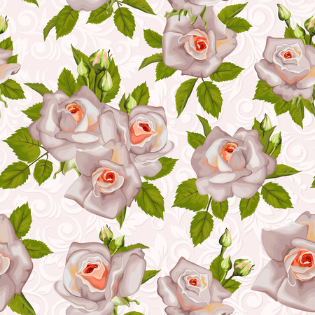 Beautiful Seamless color rose pattern Vector