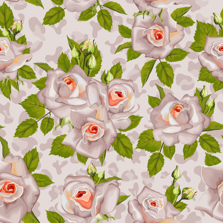 Seamless pattern with animal print and roses with leaves. Vector