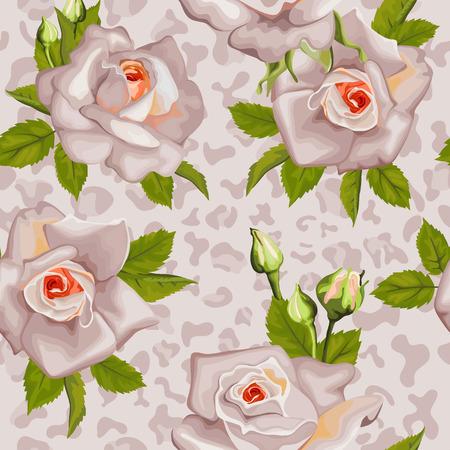 동물 프린트와 장미 잎 원활한 패턴입니다. 일러스트