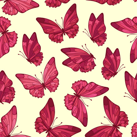 pink butterfly: Seamless pattern with butterfly.