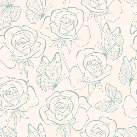 Seamless pattern with flowers and butterfly . Floral ornament. Hand-drawn contour lines and strokes. Vector