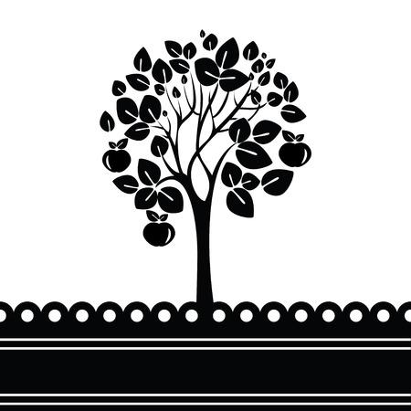 arbol de manzanas: �rbol blanco y negro estilizado con manzanas