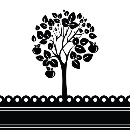 apfelbaum: Schwarz-Wei�-Baum mit �pfeln stilisiert Illustration