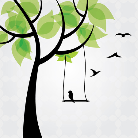 painting and stylized: Tree and birds stylized Illustration