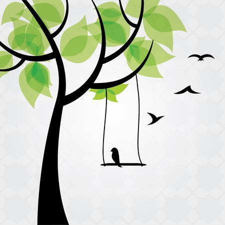 painting nature: Tree and birds stylized Illustration