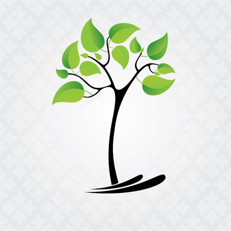 grass roots: Tree with leaves Illustration