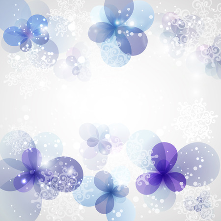 Winter Background with frozen flower. Christmas card with place for text.  Vector Illustration . Vector