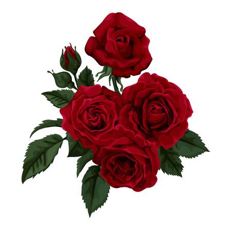 흰색으로 격리 장미의 아름 다운 꽃다발. 배경 인사말 카드, 결혼식, 생일, 발렌타인의 초대에 대한 완벽한