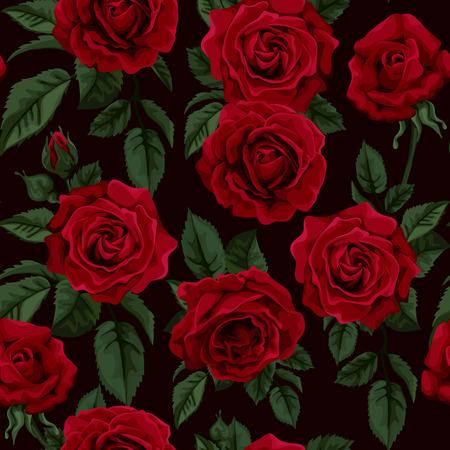 赤いバラ、ベクター グラフィックとレトロなシームレス パターン。背景グリーティング カード、結婚式の招待状に最適誕生日、バレンタインデー