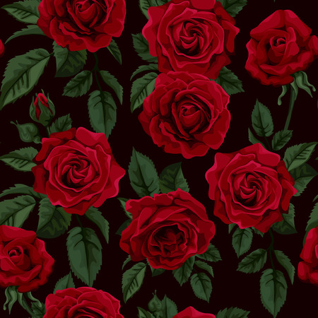 빨간 장미, 벡터 일러스트 레이 션 레트로 원활한 패턴입니다. 배경 인사말 카드와 결혼식, 생일 초대장을위한 완벽한, 발렌타인 데이, 어머니의 날. 일러스트