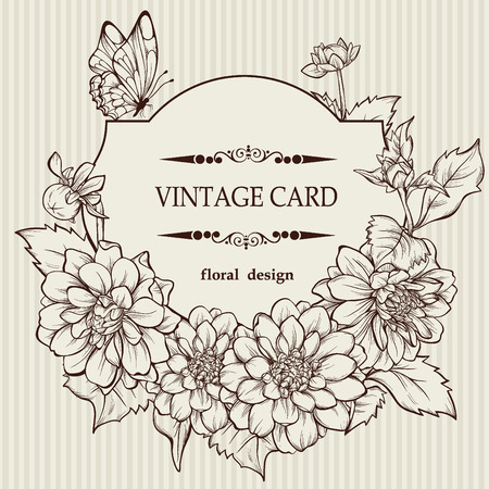 Vintage elegant vector card with a bouquet of dahlia flowers Illustration