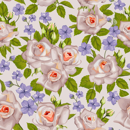 blue roses: Seamless pattern with roses and blue flowers