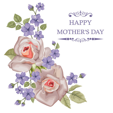 Happy Mothers Day card with roses Illustration
