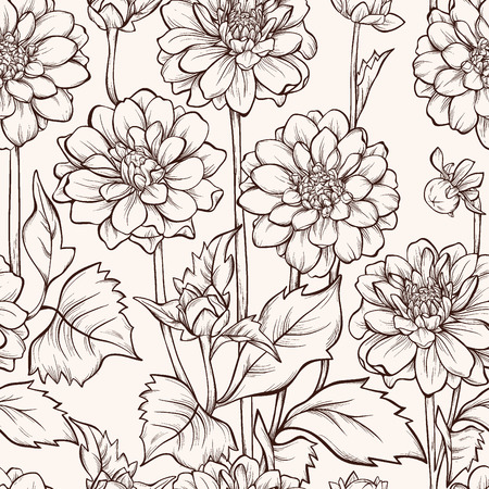 dahlia: Seamless pattern with blooming dahlia flowers