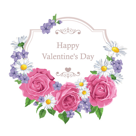 장미와 프레임 꽃 인사말 카드입니다. 폴카 도트 배경입니다. 인사말 카드와 결혼식 초대장, 생일, 발렌타인 위한 완벽한