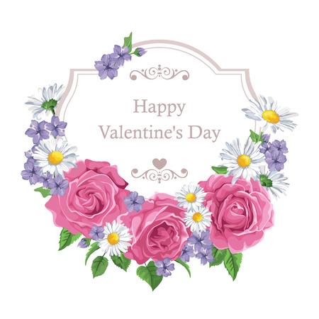 Blumengrußkarte mit Rosen und Rahmen. Hintergrund mit Polka Dot. Perfekt für Grußkarten und Einladungen der Hochzeit, Geburtstag, Valentine  Illustration