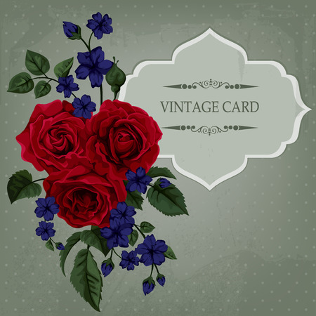Vintage Card with Roses. Vector Design Element. Vector