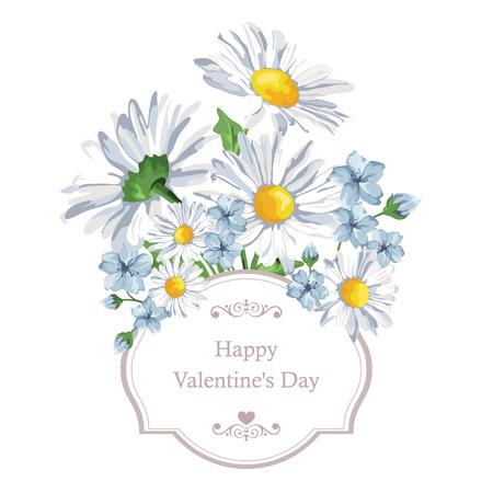 흰색에 봄 꽃 카모마일 꽃이 만발한. 벡터 일러스트 레이 션. 배경 인사말 카드와 결혼식 초대장, 생일, 발렌타인 데이, 어머니의 날에 딱 일러스트