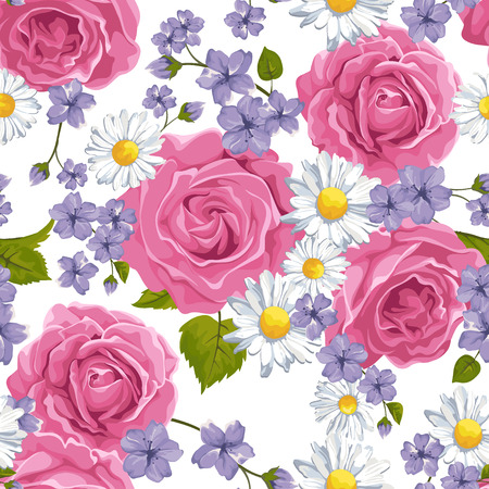 Seamless pattern with roses, camomile on design background, vector illustration. Vector