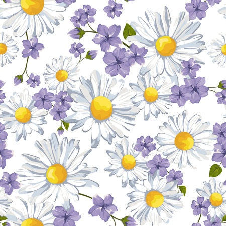 Vector seamless pattern with camomile flower and wild flower. Summer background, vector illustration. Vector