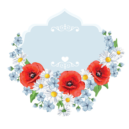 Blossoming spring flowers. Chamomiles , poppies. Vector illustration. Perfect for background greeting cards and invitations of the wedding, birthday, Valentine\'s Day, Mother\'s Day.