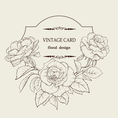Vintage elegant vector card with a bouquet of rose flowers. Blossoming roses. Vector illustration. Perfect background for wedding, birthday, Valentine\\