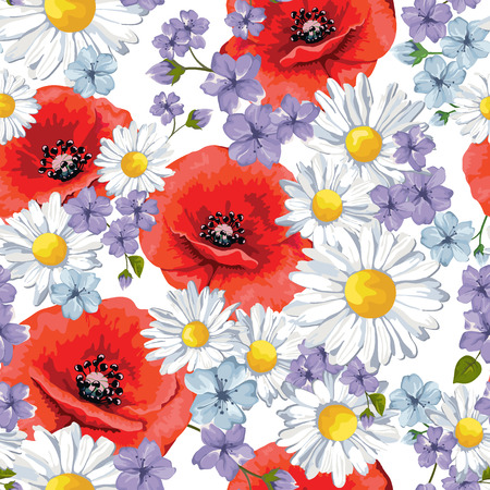 Seamless pattern with flowers. Summer backgrund. Poppy and chamomile, vector illustration.
