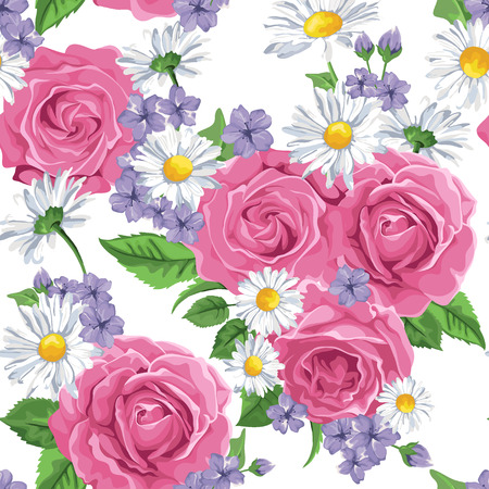 Seamless wallpaper pattern with pink roses and camomile on design background, vector illustration. Vector