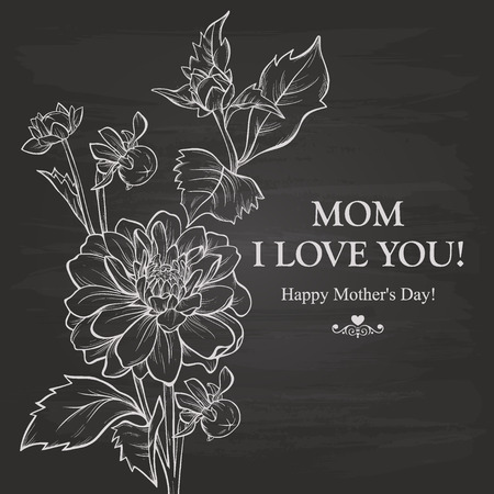 Mothers Day Background With Chalk On Blackboard Vector