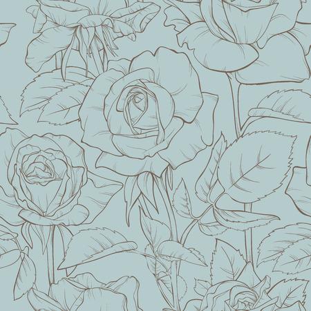 장미 꽃과 빈티지 꽃 원활한 패턴입니다. 디자인 요소입니다. 손으로 그린 등고선과 스트로크.