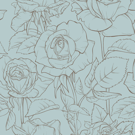 Vintage floral seamless pattern with rose flowers. Element for design. Hand-drawn contour lines and strokes.