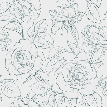Vintage floral seamless pattern with rose flowers. Element for design. Hand-drawn contour lines and strokes. Vector