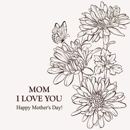 butterfly flower: Card for Mothers Day. Blossoming flower with butterfly.