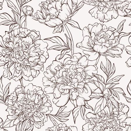 작 약 꽃과 원활한 패턴입니다. 일러스트