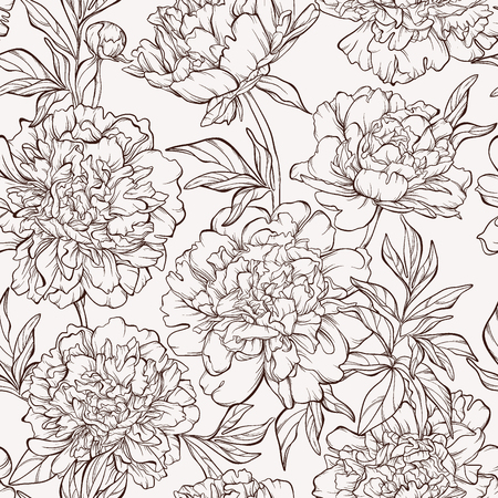 Seamless pattern with peony flowers. Illustration
